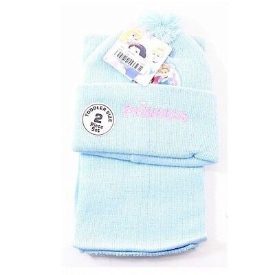 Disney Princess Toddler Girl's Blue Hat & Scarf Winter Set Sz. 2-4T