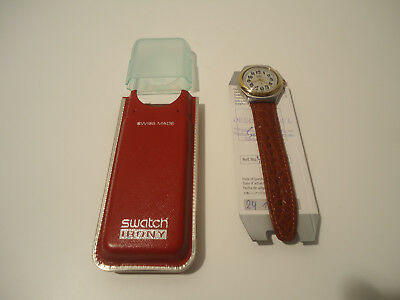 SWATCH Irony YGS100 RED Jack Lederarmband in box mit Papieren 1993/1994
