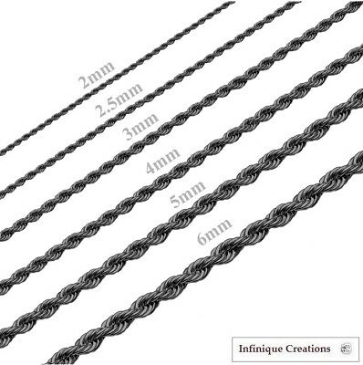 18K IP BLACK GOLD Stainless Steel Rope Chain Necklace Men & Women 2mm to 6mm
