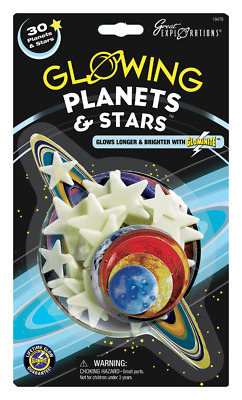 30PC Glow in the Dark Big Planets & Stars Lifetime Glowing by Great Explorations
