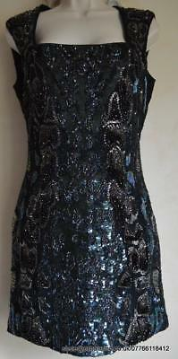 All Saints Rattle Sequin/Embellished/Beaded Dress Petrol Size 12 BNWT £328