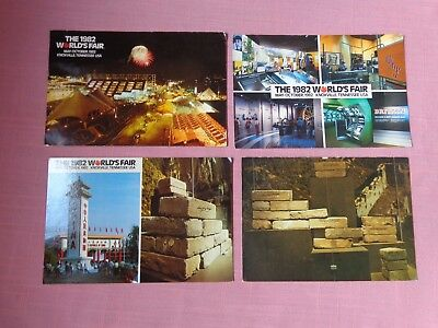 4 4x6 postcards 1982 World's Fair Knoxville Tennessee night scene fireworks more