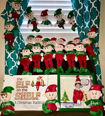 Elf On A Shelf (Male & Female custom made with Names with White Lettering)