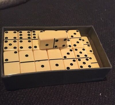 27 Vintage Extra Thick Mini Bakelite Catalin Blonde Dominoes With Box Rare