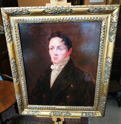 """William Charles Stamp"" Portrait Oil Painting on Canvas 19th Century."