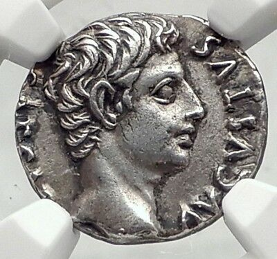 AUGUSTUS Authentic Ancient 19BC Silver Roman Coin RETURN of STANDARDS NGC i72341