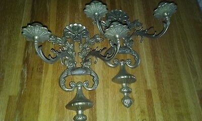 Pair of Large Vintage Victorian Style Brass Wall Mount Candle Holder Candelabra