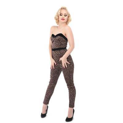 Collectif Vintage Monica Leopard Velvet Jumpsuit