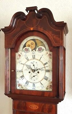 Beautiful Georgian Mahogany & Inlaid Moonroller Longcase Grandfather Clock C1800