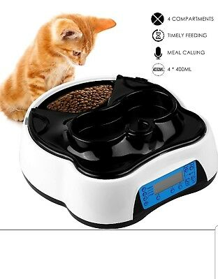 Pedy Automatic Food Water Dispenser - 4 Meal Pet Feeder Drinking Station