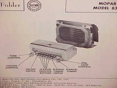 1954 Chrysler Imperial Windsor New Yorker Convertible Am Radio Service Manual 54
