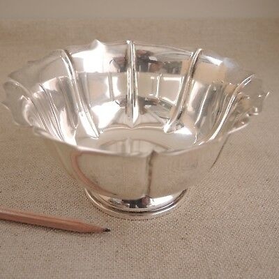 """Nice 8"""" Becht & Hartl Sterling Silver Fluted Bowl Footed Scalloped Vtg BH 182 g"""