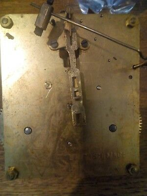 Vintage British Made Mantle Clock Brass Movement Striking Parts