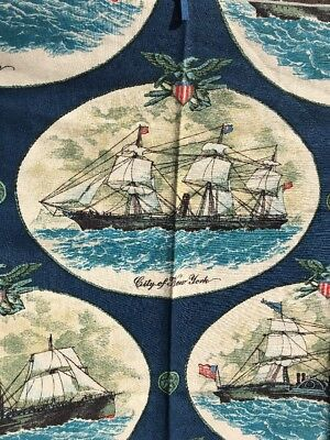 "Vintage 60's Schumacher Nautical Fabric ""Trans-Atlantic Liners"" Screen Print"