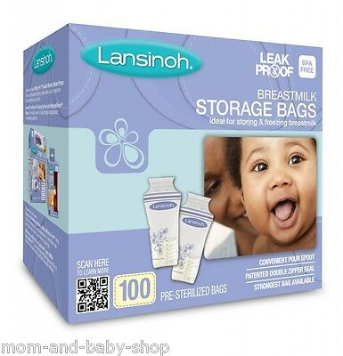 LANSINOH BREAST MILK COLLECTION BAGS BREASTMILK FREEZER STORAGE BAG x100 #20470