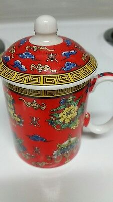 Asian Ceramic Tea Cup with Lid