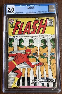 The Flash #105 CGC 2.0 1st Silver Age Flash in own title  Feb 1959 DC KEY