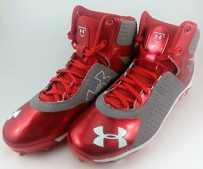 b07041409a43 RED Under Armour Size 8 Spine Heater Mid Metal Men's Baseball Cleats  1250042-026