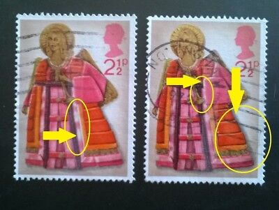 2 Gb Error/variety Used Xmas 2.5P Sg 913 1972 Stamps - White Areas On Robe