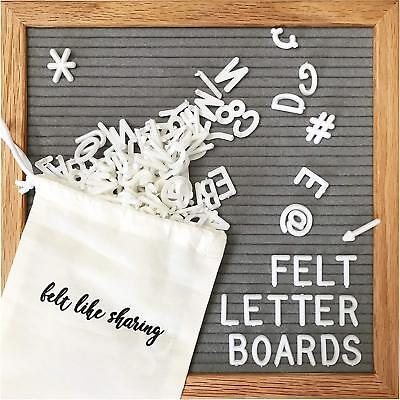 Gray Felt Letter Board 10x10 Inches. Changeable Letter Boards Include 300 White