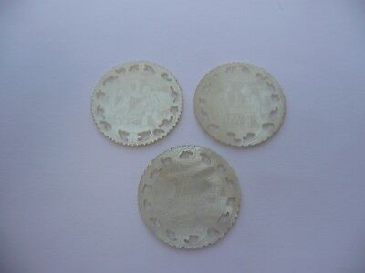 3 Antique Chinese Carved & Pierced Mother Of Pearl Gaming Counters Chips Tokens