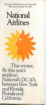 National Airlines October 31, 1971 System Timetable