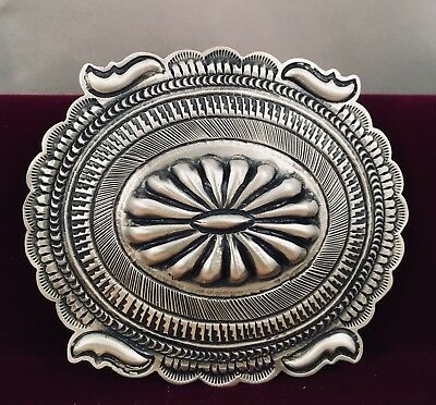 Navajo Handmade Sterling Silver Belt Buckle