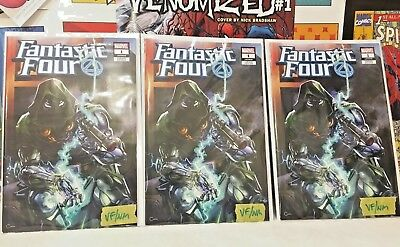 Lot Of 3 Fantastic Four 1 Variant Vf/nm Clayton Crain Exclusive Dr Doom Ff Rare