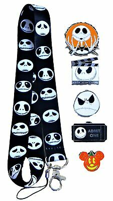 Nightmare Before Christmas Jack Skellington Lanyard Set with 5 Disney Pins - NEW