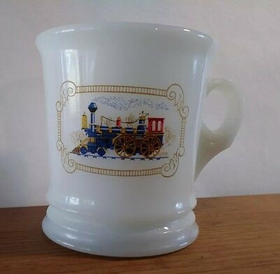 Vintage AVON Steam Train Engine Locomotive Milk Glass Shaving Mug Cup 1970's