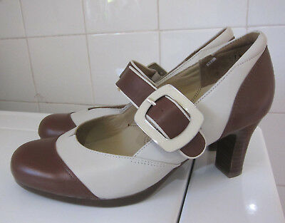 KUMFS (Ziera) 2 tone Retro Style Leather Buckle Pumps Heels Shoes ~ Size 37.5