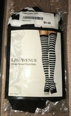 a07258d7f1575 women's NEW NIP BLACK WHITE STRIPE THIGH HIGHS WITCH HALLOWEEN COSTUME WEAR  LEG