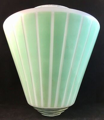 Vintage Green Striped Art Deco Glass Skyscraper Rocket Lamp Light Shade Diffuser
