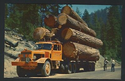 Old Vintage Postcard Logging Truck Mountain Roads Postcard