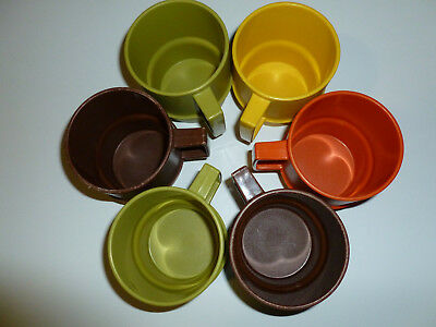 Vintage Tupperware Coffee Cups Mugs Stackable Set Of 6 Fall Colors