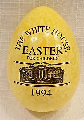 *RARE* 1994 YELLOW SPECKLED White House Wooden Easter EGG Roll Bill Clinton