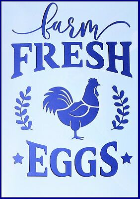 A5 Flexible Stencil *FARM FRESH EGGS* Rooster Stars Chicken Painting Embossing