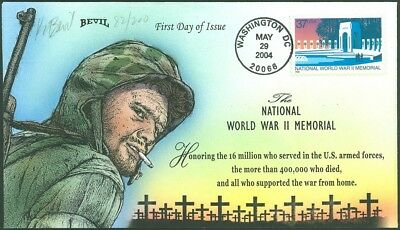 BEVIL Hand Painted, HONORING NATIONAL WWII MEMORIAL SOLDIERS, #82/200, #3862 FDC