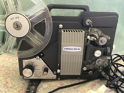 Cinemax 8mm Film Projector Model 8GF-RS with original booklet & cover