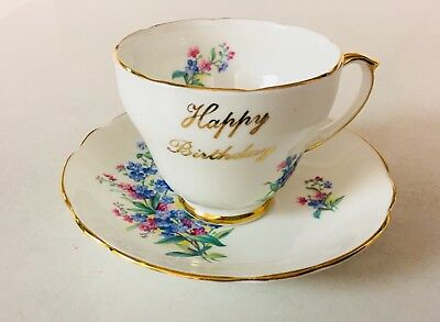 """Duchess Bone China """"Happy Birthday """" Tea Cup And Saucer England With Gold Trim"""