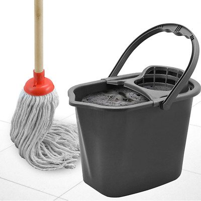 Fusion 15 LITRE LARGE PLASTIC MOP BUCKET CLEANING BASKET WRINGER WITH FREE (TM)