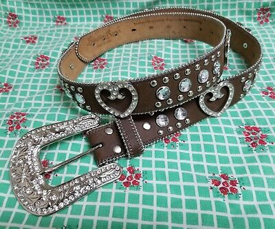 Blazin Roxx Western Belt Womens Crystal Heart Rich Earth N3511844