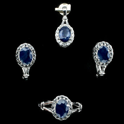 Gorgeous Oval 7x5mm Blue Blue Sapphire Cubic Zirconia 925 Sterling Silver Sets
