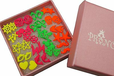 Wholesale lot of 20 Neon Color Fluorescent Mix Design Stud Earrings Gift Box