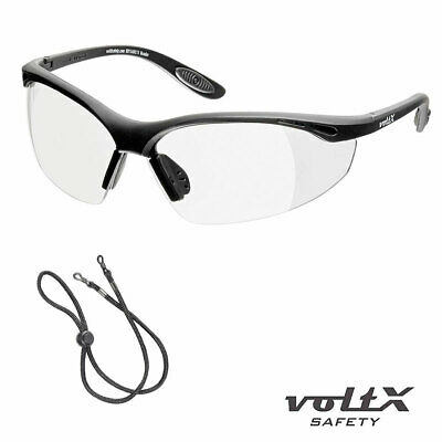 voltX CONSTRUCTOR READERS Full Lens Magnified Reading Safety Glasses + Cord