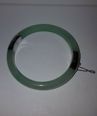 Pale Green Jade Bracelet / Bangle Hinged White Metal Clasp Marked 18K Gp