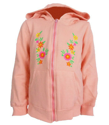 Girls Embroidered Floral Front Hoodie Zip Front UK 9/12mths - 5/6yrs