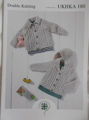 343ab7080 DOUBLE KNITTING PATTERN Baby Hooded or Flat Collar Cable Knit ...
