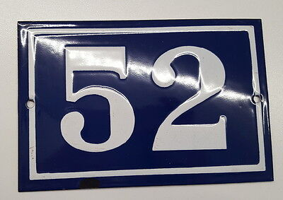 ANTIQUE FRENCH ENAMEL HOUSE NUMBER SIGN Door gate plaque street plate 52