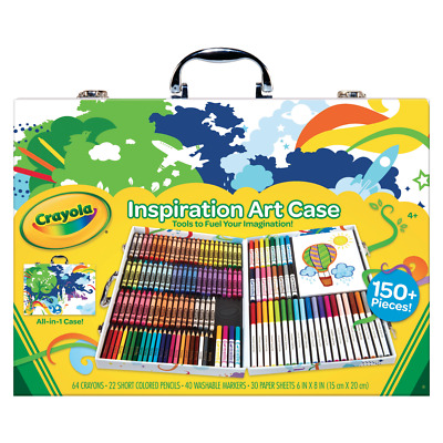 150+ PCS Crayola Art Case with Crayons Coloured Pencils Washable Markers & Paper